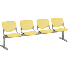 2300 KOOL Series Beam Seating with 4 Poly Perforated Back and Seats with Silver Frame - Yellow