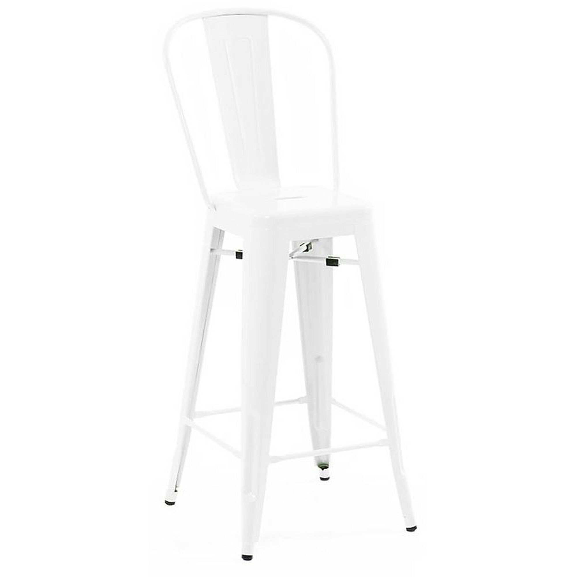 Dreux 30h Glossy White Steel High Back Barstool Set Of 4