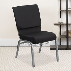 HERCULES Series 18.5''W Church Chair in Black Patterned Fabric with Cup Book Rack - Silver Vein Frame