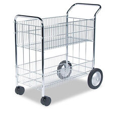 Fellowes® Wire Mail Cart - 21-1/2w x 37-1/2d x 39-1/4h - Chrome