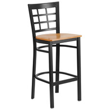 Black Window Back Metal Restaurant Barstool with Natural Wood Seat