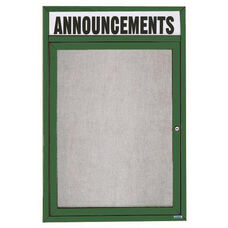 1 Door Outdoor Enclosed Bulletin Board with Header and Green Powder Coated Aluminum Frame - 24
