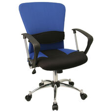 Mid-Back Blue Mesh Swivel Task Chair with Adjustable Lumbar Support and Arms