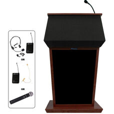 Patriot Wireless 50 Watt Sound and Hand Held Mic Lectern - Mahogany Finish - 31