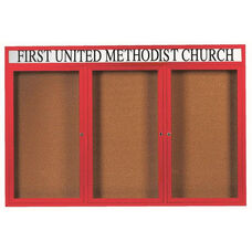 3 Door Indoor Enclosed Bulletin Board with Header and Red Powder Coated Aluminum Frame - 48