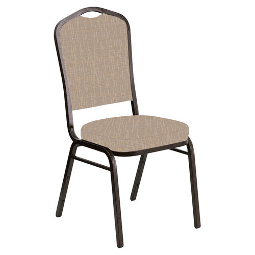 Crown Back Banquet Chair in Amaze Fossil Fabric - Gold Vein Frame