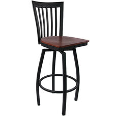 Advantage Vertical Slat Back Metal Swivel Bar Stool - Mahogany Wood Seat