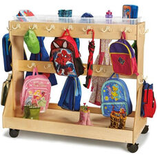 Mobile Wooden Backpack Cart with 6 Clear Plastic Storage Trays - 55