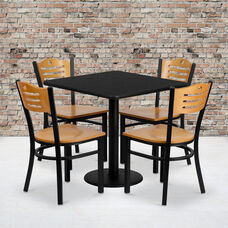 30'' Square Black Laminate Table Set with Wood Slat Back Metal Chair and Natural Wood Seat, Seats 4