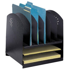 Six Upright and Two Horizontal Sections Combination Desk Rack - Black