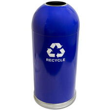 15 Gallon Open Dome-Top Recycling Receptacle with Decal - Blue