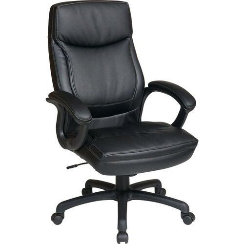 Our Work Smart Executive High-Back Eco-Leather Office Chair with Contrasting Stitch Pattern - Black is on sale now.