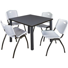 Kee 36'' Square Laminate Breakroom Table with 4 ''M'' Stack Chairs - Gray Table Finish with Black Legs and Gray Chairs