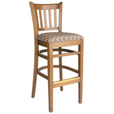 Grill Vertical Back Wood Bar Stool - Grade 3 Upholstered Seat
