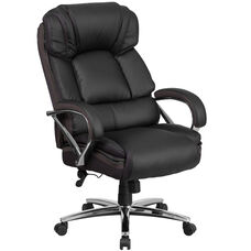 HERCULES Series Big & Tall 500 lb. Rated Black Leather Executive Swivel Ergonomic Office Chair with Chrome Base and Arms