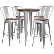 """30"""" Round Silver Metal Bar Table Set with Wood Top and 4 Stools"""