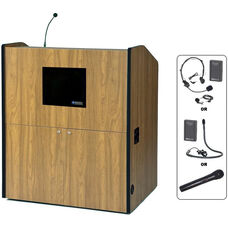 Multimedia Wireless 150 Watt Sound and Microphone Smart Podium - Medium Oak Finish - 48.5