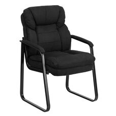 Black Microfiber Executive Side Reception Chair with Lumbar Support and Sled Base