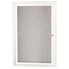 1 Door Outdoor Enclosed Bulletin Board with White Powder Coated Aluminum Frame - 36''H x 24''W