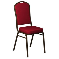 Embroidered Crown Back Banquet Chair in Sherpa Scarlet Fabric - Gold Vein Frame