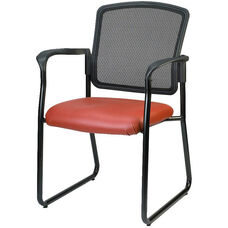 Dakota2 Mesh Back 25.5'' W x 23.5'' D x 35.5'' H Sled Base Stack Chair with Arms - Healthcare Fabrix