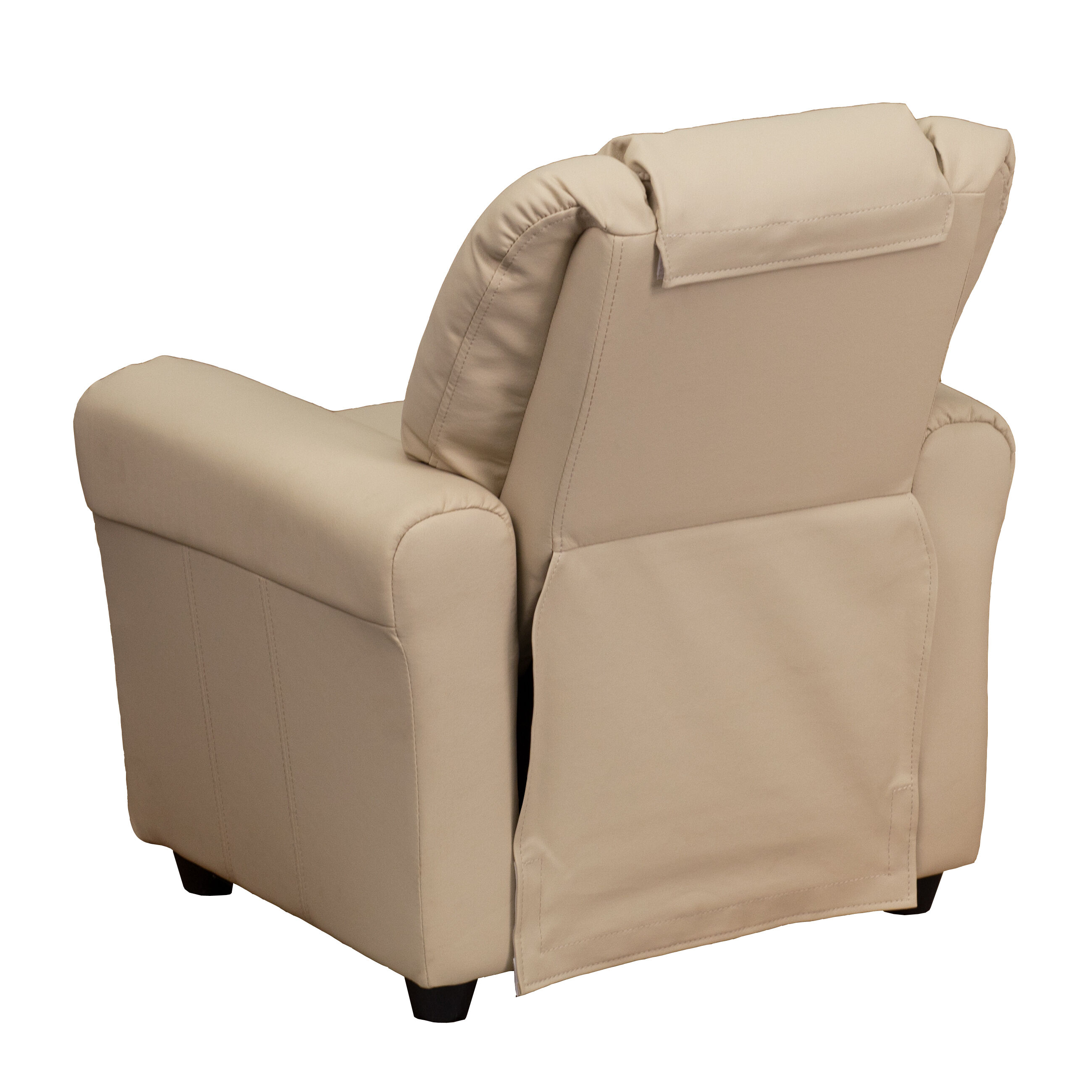 Our Contemporary Beige Vinyl Kids Recliner With Cup Holder And Headrest Is  On Sale Now.