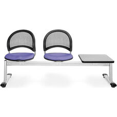 Moon 3-Beam Seating with 2 Lavender Fabric Seats and 1 Table - Gray Nebula Finish