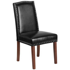 HERCULES Hampton Hill Series Black LeatherSoft Parsons Chair with Silver Accent Nail Trim