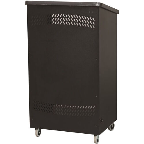 """Our 44.75""""H Black Laminate Top Mobile Podium with Shelves in Black Finish is on sale now."""