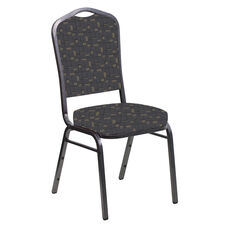 Embroidered Crown Back Banquet Chair in Circuit Gray Fabric - Silver Vein Frame
