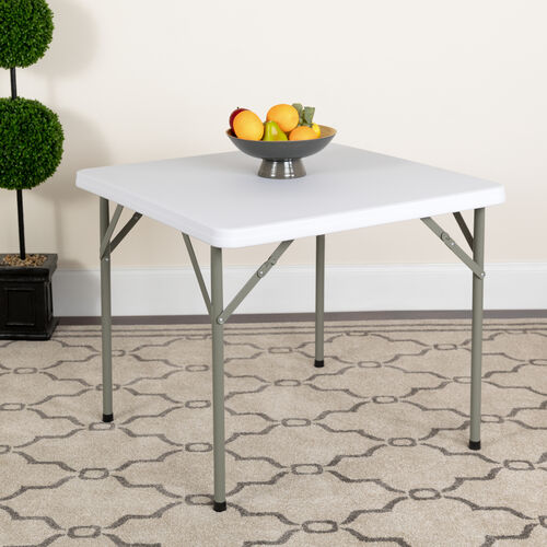Our 2.85-Foot Square Granite White Plastic Folding Table is on sale now.