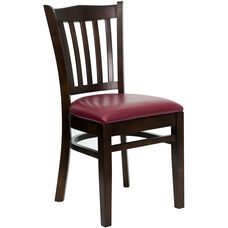 Walnut Finished Vertical Slat Back Wooden Restaurant Chair with Burgundy Vinyl Seat