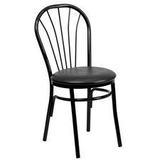 Metal Fan Back Bistro Chair with Black Vinyl Seat