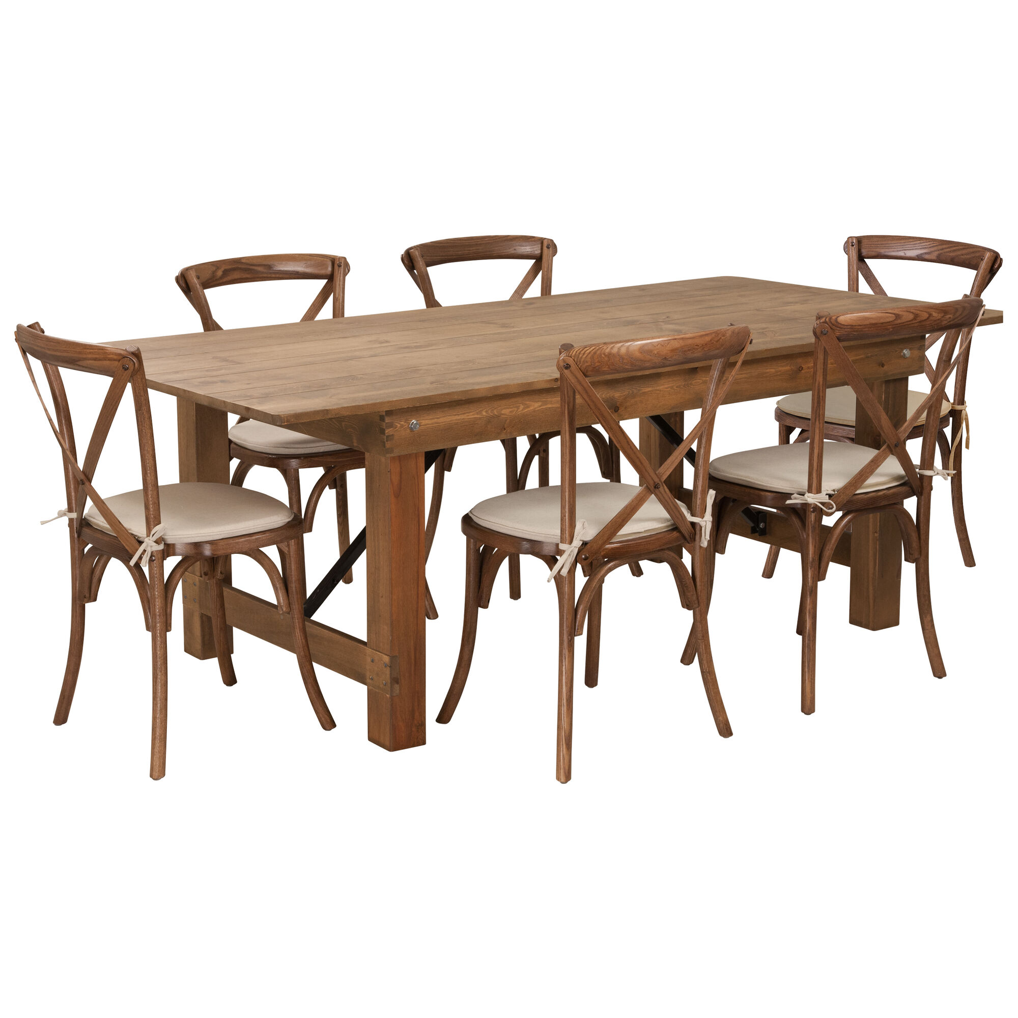 Admirable Hercules Series 7 X 40 Antique Rustic Folding Farm Table Set With 6 Cross Back Chairs And Cushions Ibusinesslaw Wood Chair Design Ideas Ibusinesslaworg