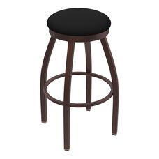 Misha 25'' Bronze Finish Swivel Counter Height Stool with Black Vinyl Seat