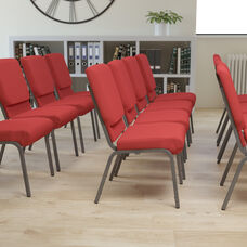 HERCULES Series 18.5''W Stacking Church Chair in Red Fabric - Silver Vein Frame