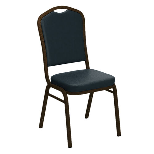 Our Embroidered Crown Back Banquet Chair in E-Z Wallaby Blue Vinyl - Gold Vein Frame is on sale now.