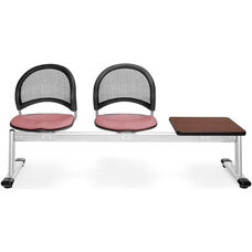 Moon 3-Beam Seating with 2 Coral Pink Fabric Seats and 1 Table - Mahogany Finish