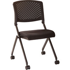 Work Smart Plastic Nesting Chair with Black Frame - Set of 2 - Black Icon