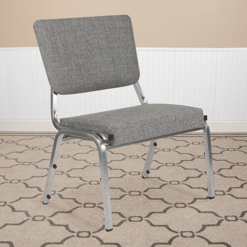 HERCULES Series 1500 lb. Rated Gray Antimicrobial Fabric Bariatric Antimicrobial Medical Reception Chair with 3/4 Panel Back