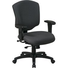 Work Smart Mid Back Upholstered Fabric Executive Chair with Adjustable Seat Height and Arms