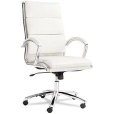 Alera® Neratoli Series High-Back Swivel/Tilt Chair - White Faux Leather - Chrome