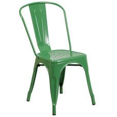 Commercial Grade Green Metal Indoor-Outdoor Stackable Chair