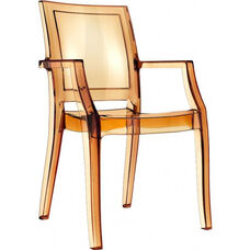 Arthur Polycarbonate Modern Stackable Dining Arm Chair - Transparent Amber