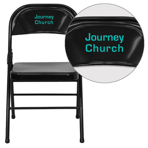 Our Personalized HERCULES Series Triple Braced & Double-Hinged Black Metal Folding Chair is on sale now.