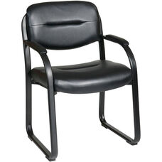 Work Smart Faux Leather Visitors Chair with Padded Arms and Sled Base - Black