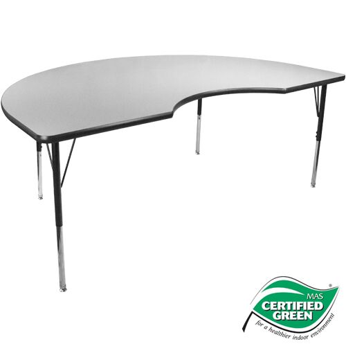 Advantage 48 in. x 72 in. Kidney-shape Adjustable Activity Table - Grey/Black