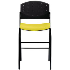 Eddy Black Bar Stool with Upholstered Seat Pad