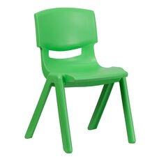 Green Plastic Stackable School Chair with 15.5