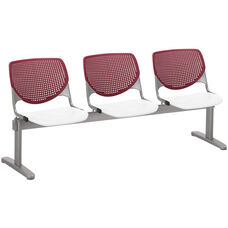2300 KOOL Series Beam Seating with 3 Poly Burgundy Perforated Back Seats and White Seats